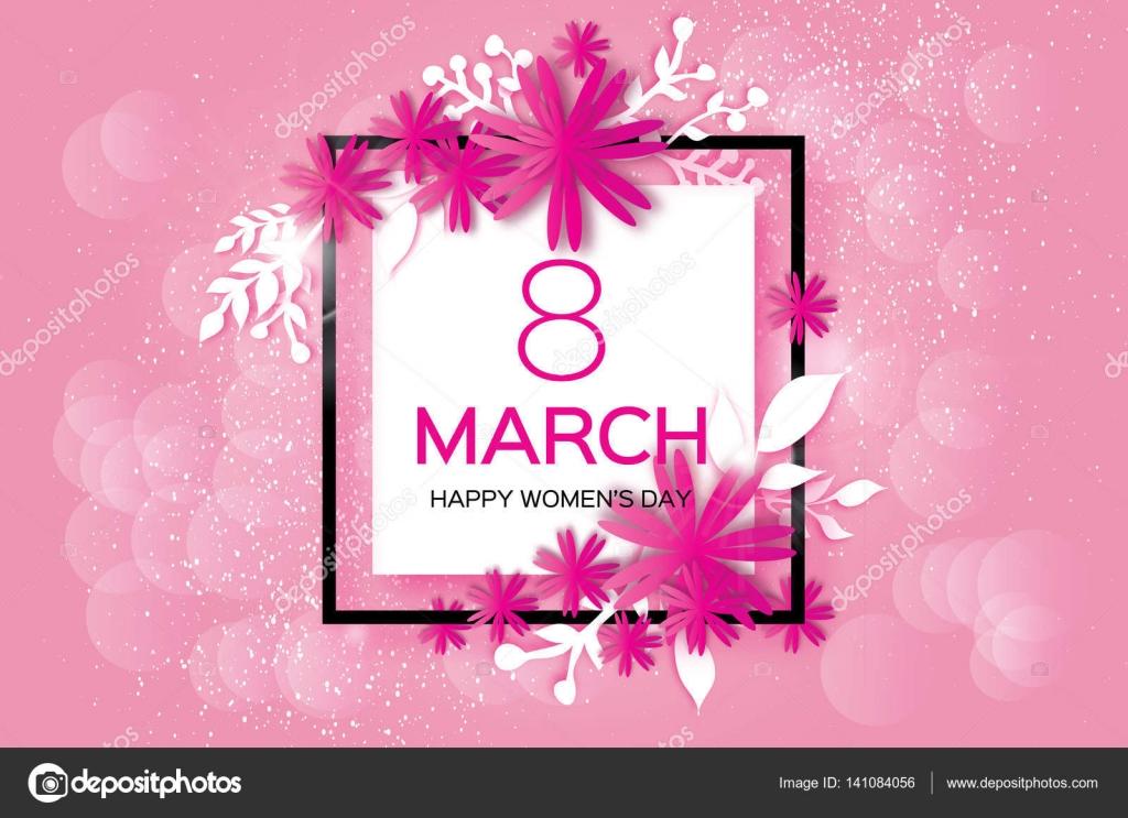 Zum Muttertag. Rosa Papierblume Blätter. 8. März. Quadratischer ...