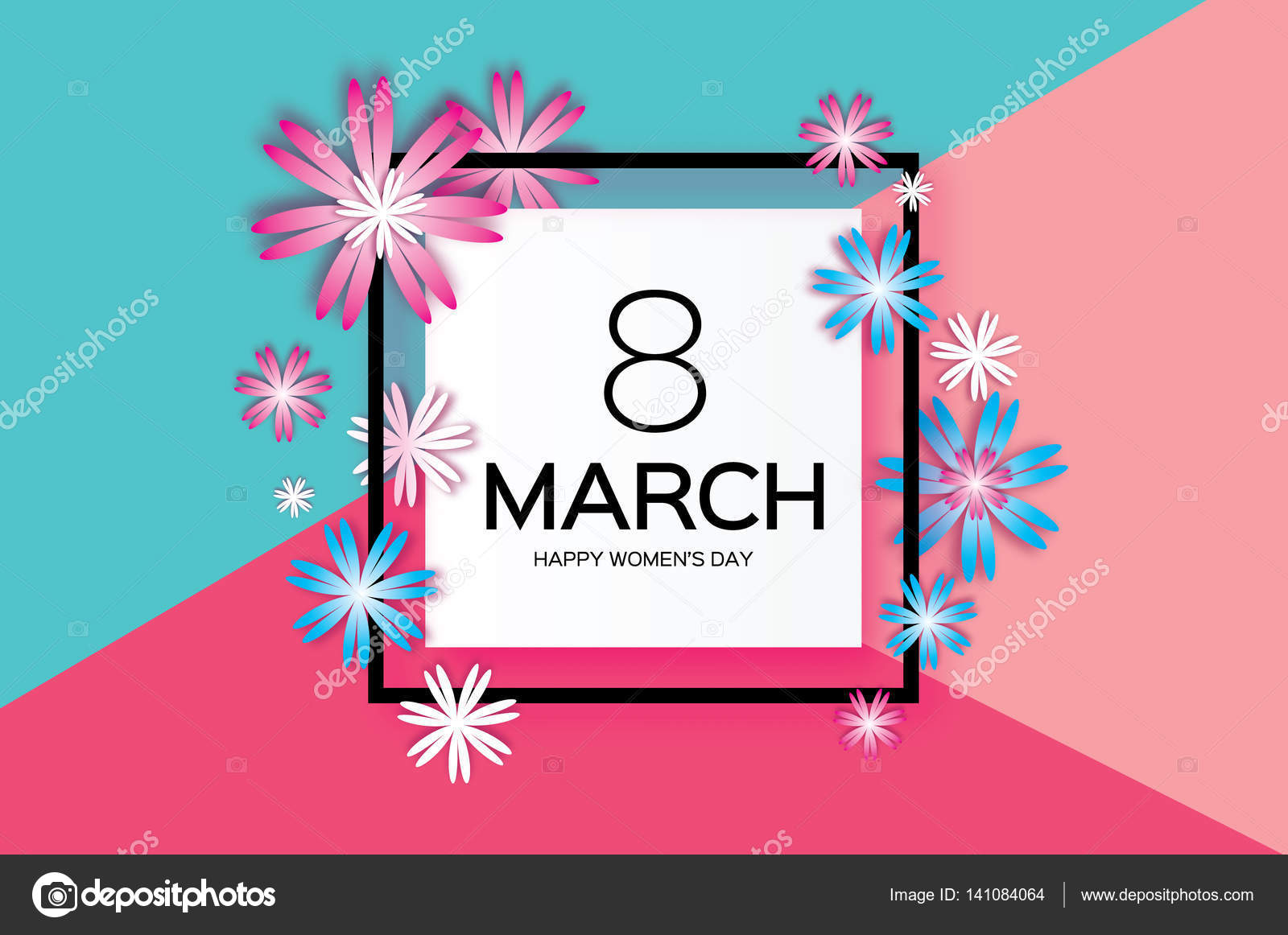 Mother\'s Day. Pink Blue Paper flower. 8 March. Square frame — Stock ...