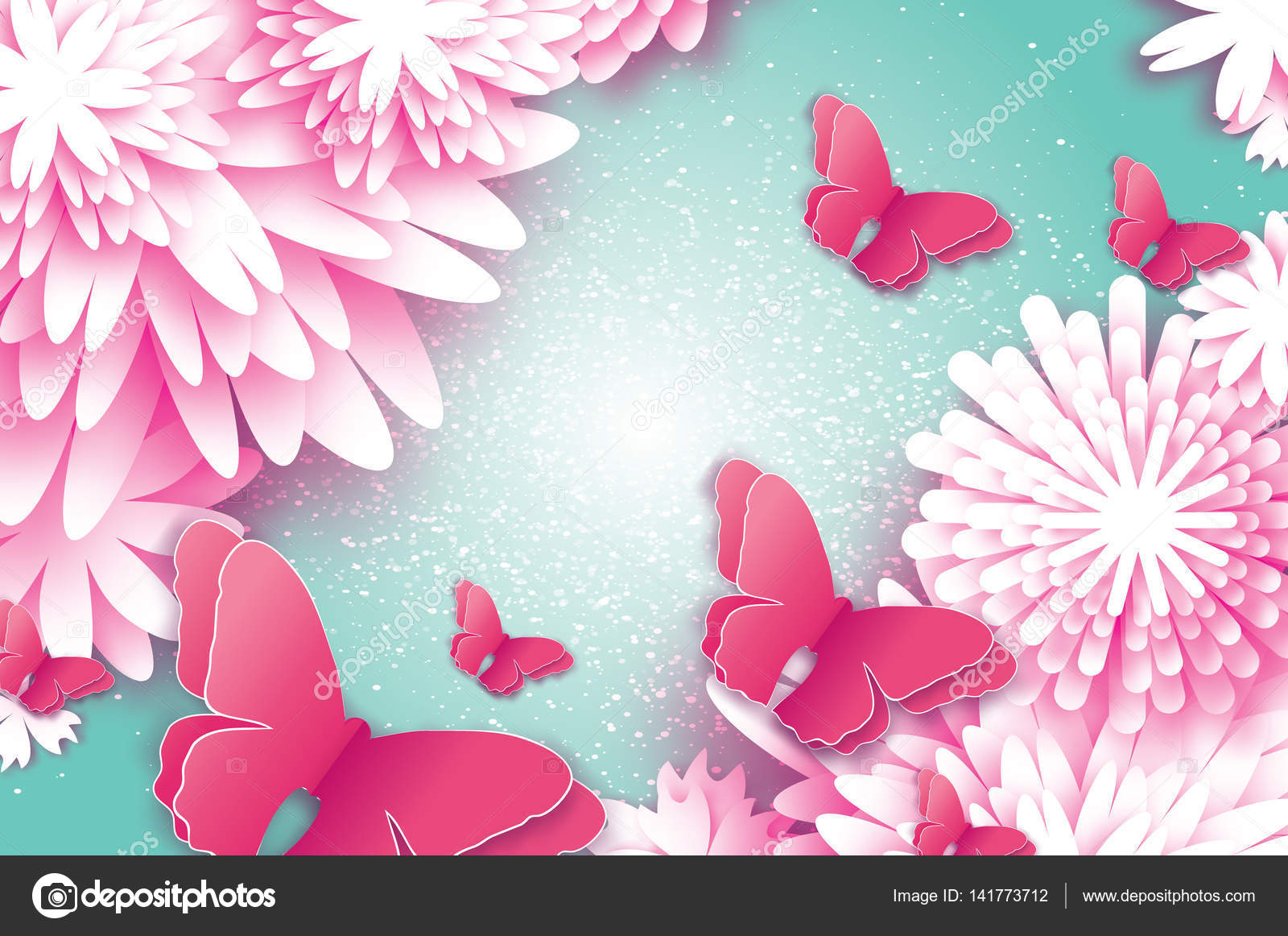 Paper Cut Butterfly With Origami Flower Stock Vector Mash3r