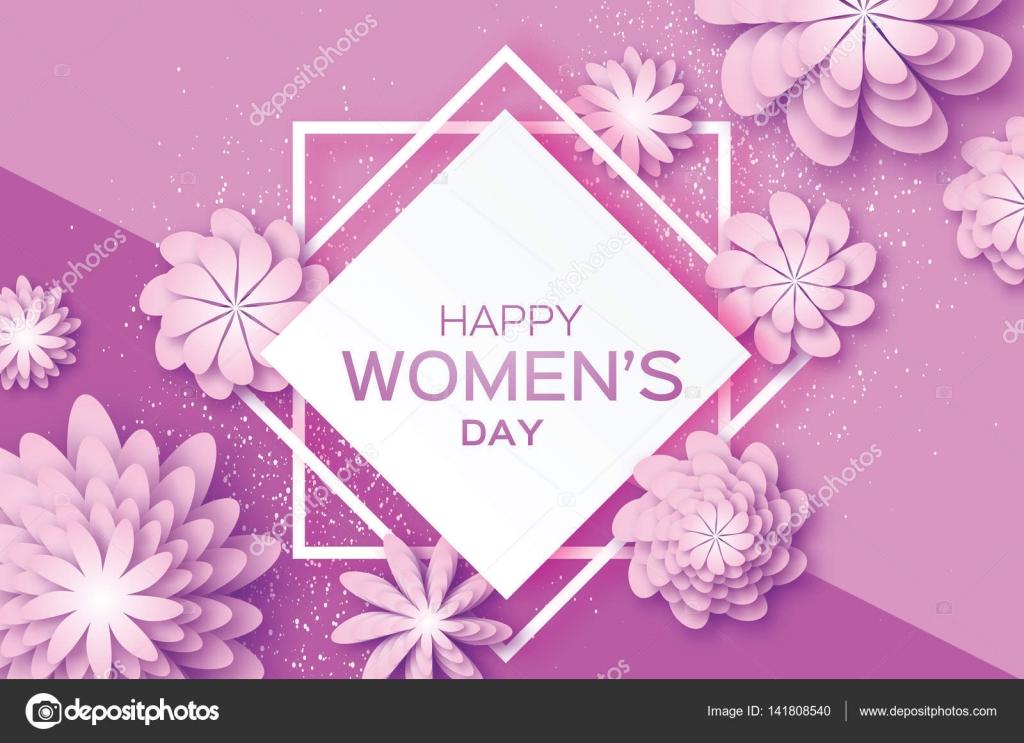 Lila Papier Schnittblume. 8. März. Origami Frauentag. Quadratischer ...