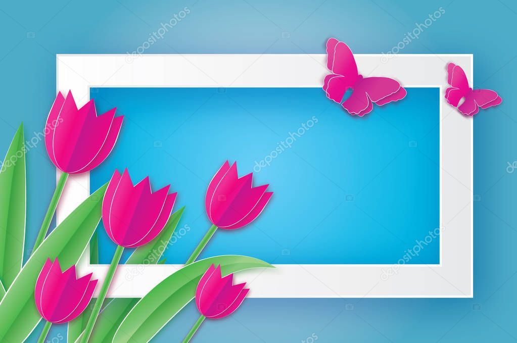 Pink Tulips and Butterfly. Paper cut flower. 8 March. Women's Day.