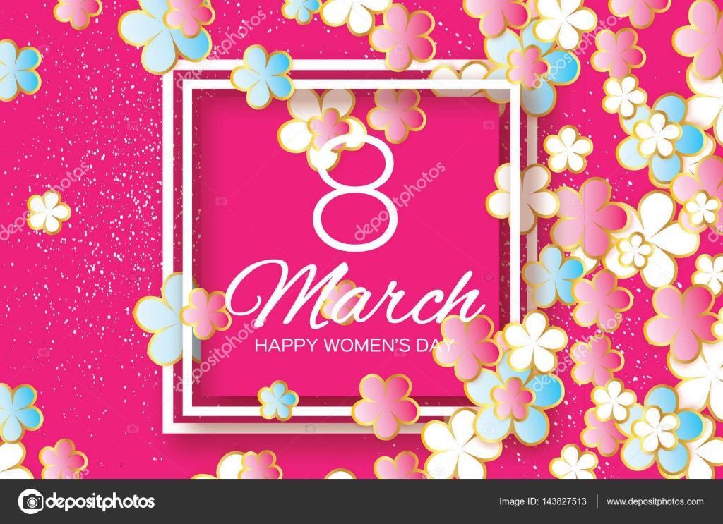 Zum Muttertag. Bunte gold Papierblume. 8. März. Quadratischer Rahmen ...