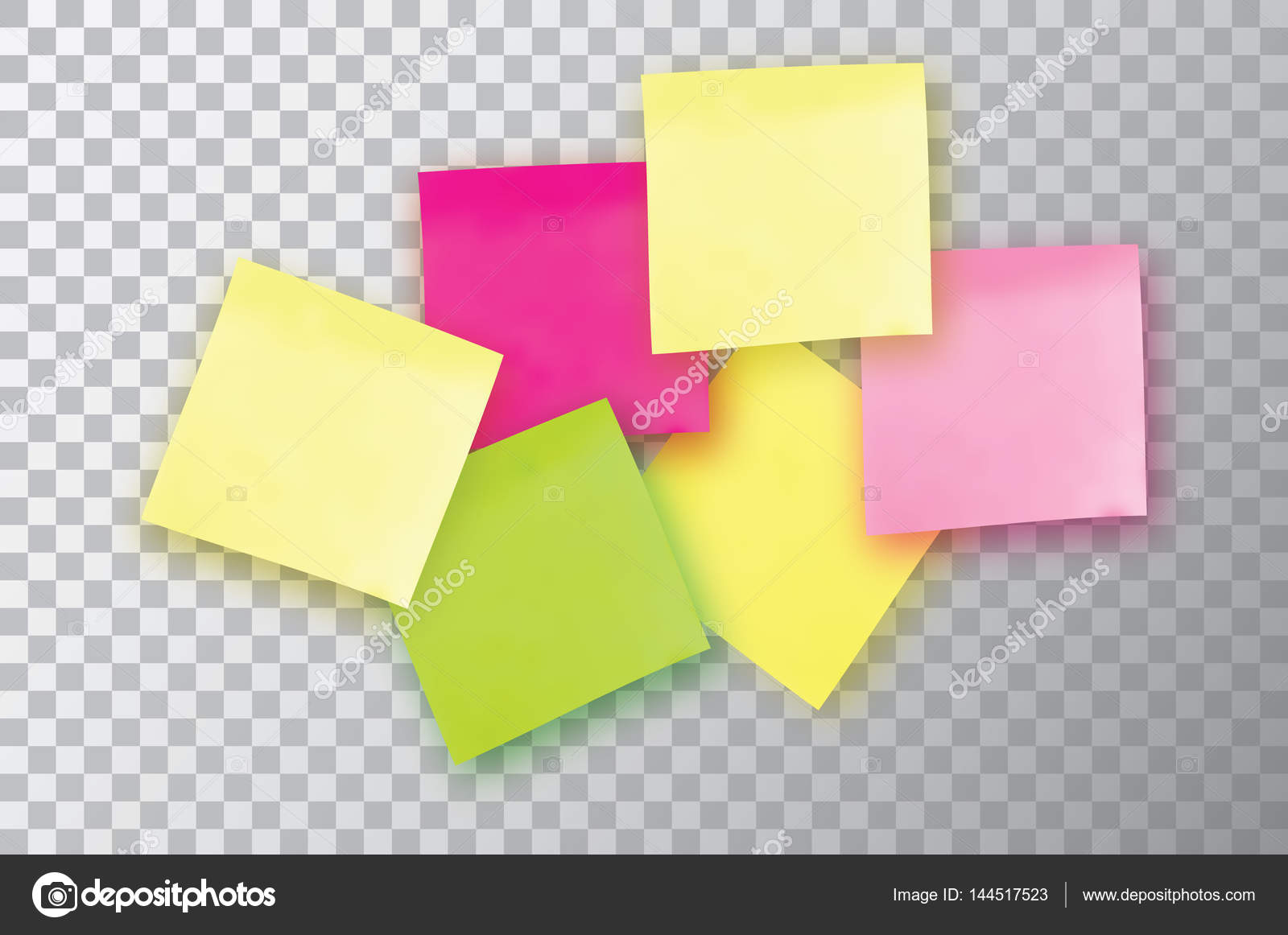 6 Colorful sticky note. Template for your projects. Six Sticker ...