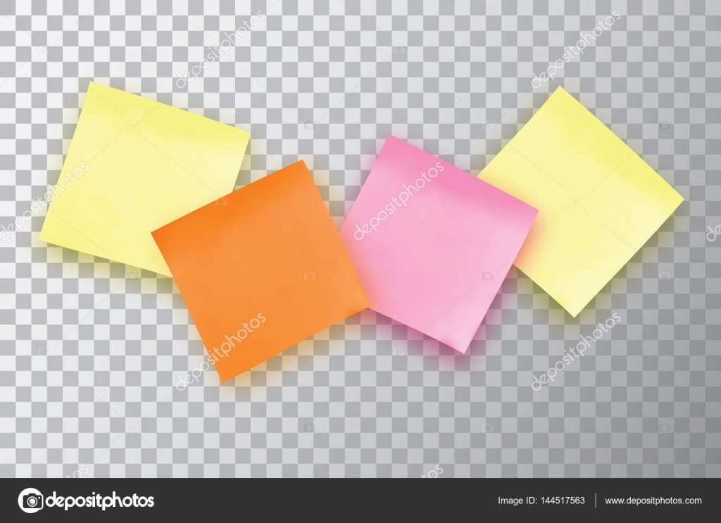 Four Colorful Sticky Note Template For Your Projects  Stock
