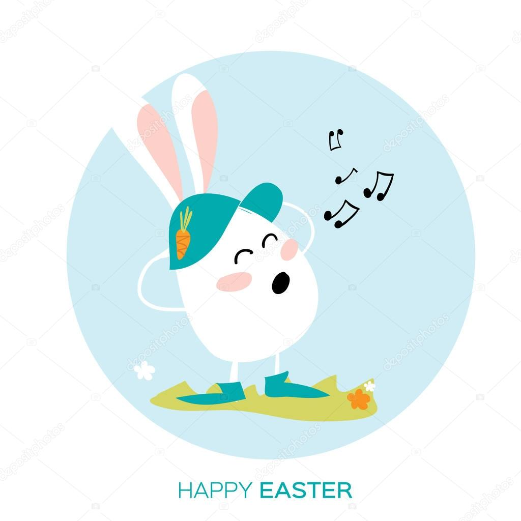 Bunny singing. White easter rabbit. Happy Easter