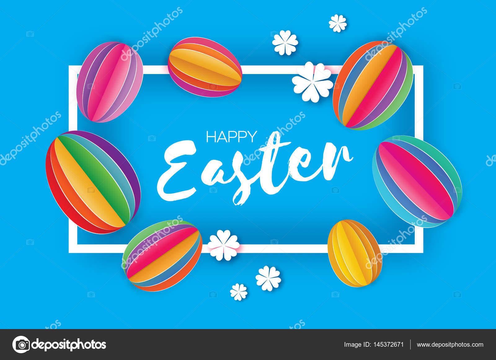 Feliz Pascua de origami. Papel de colores había cortado huevo de ...