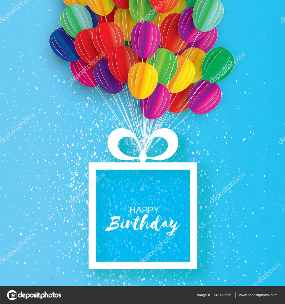 Colorful Flying Paper Cut Balloons Happy Birthday Greeting Card Origami Gift Box Space