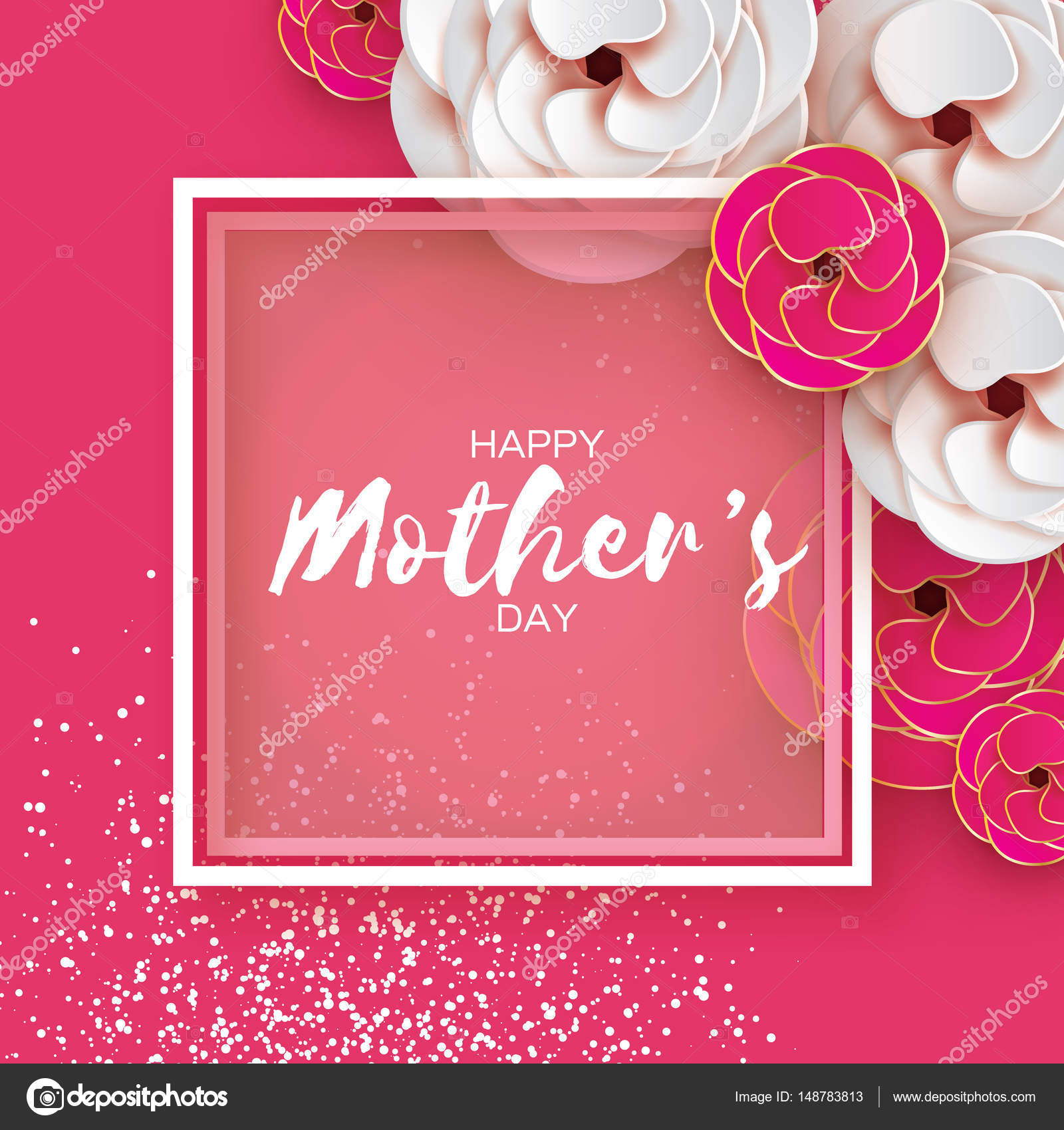Pink gold happy mothers day greeting card womens day paper cut pink gold happy mothers day greeting card womens day paper cut flower origami kristyandbryce Image collections