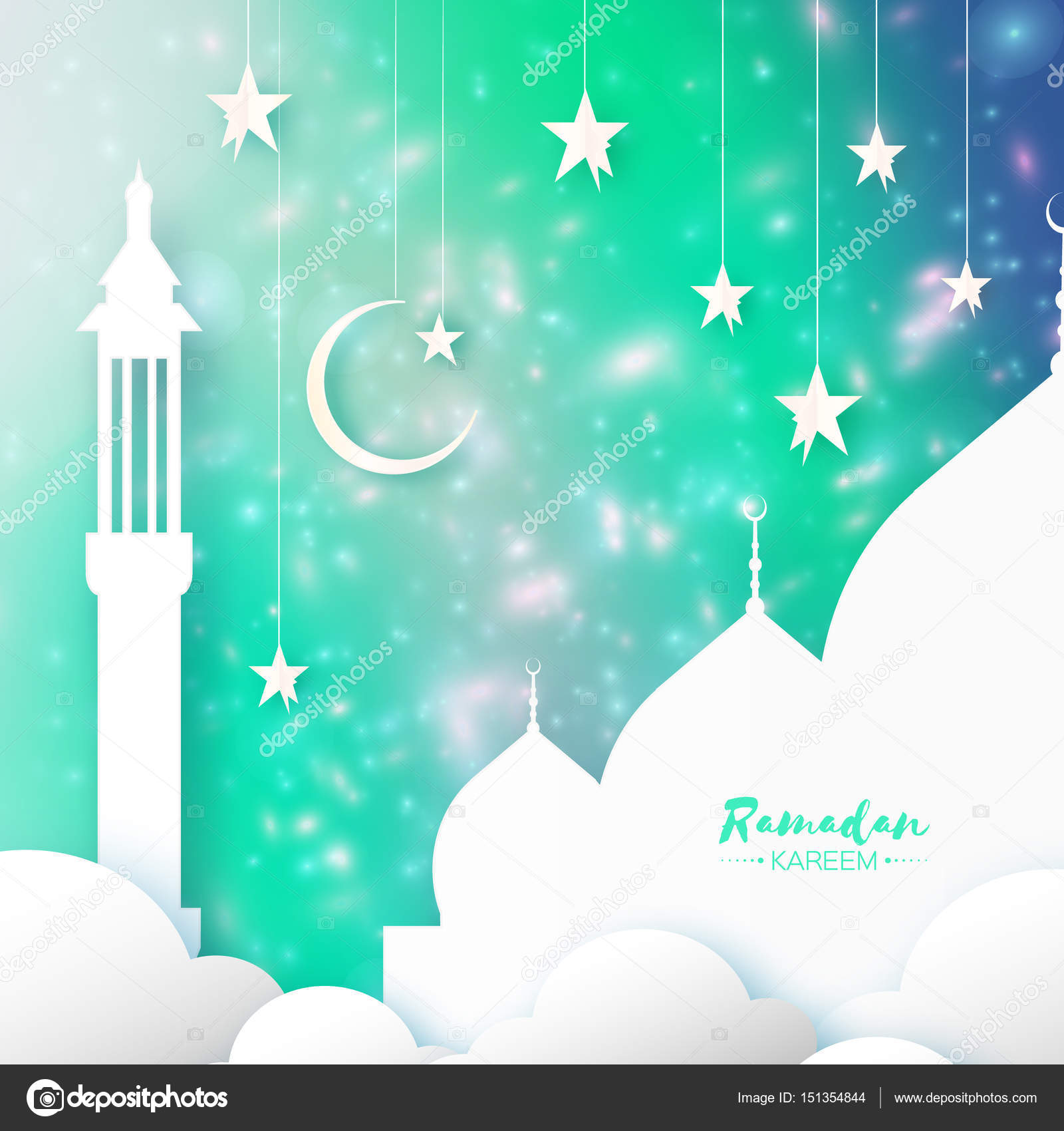 Green ramadan kareem greeting card arabic window mosque clouds arabic mosque clouds white stars in paper cut style crescent moon holy month of muslim symbol of islam origami greeting card green background kristyandbryce Image collections