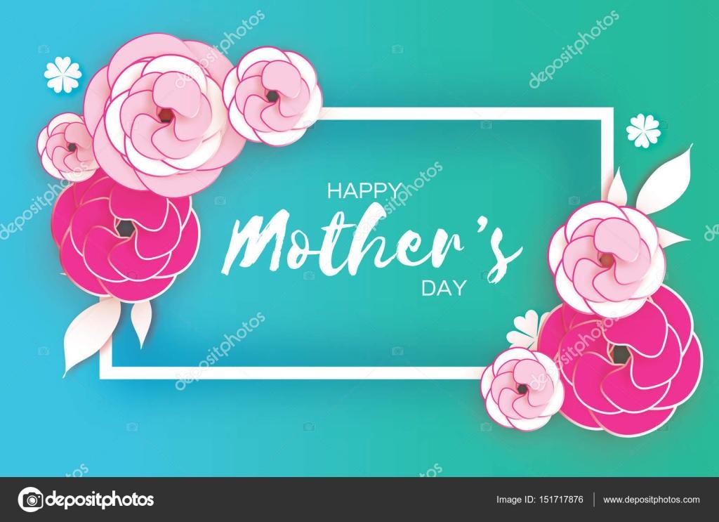 Tarjeta de felicitación de feliz día de la madre. Rosa flor de corte ...