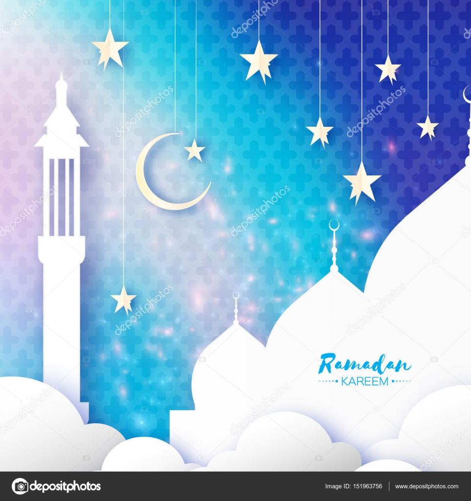 Ramadan Kareem Arabic Mosque Clouds White Stars In Paper Cut Style Arabesque Pattern Crescent Moon Holy Month Of Muslim Symbol Islam Origami