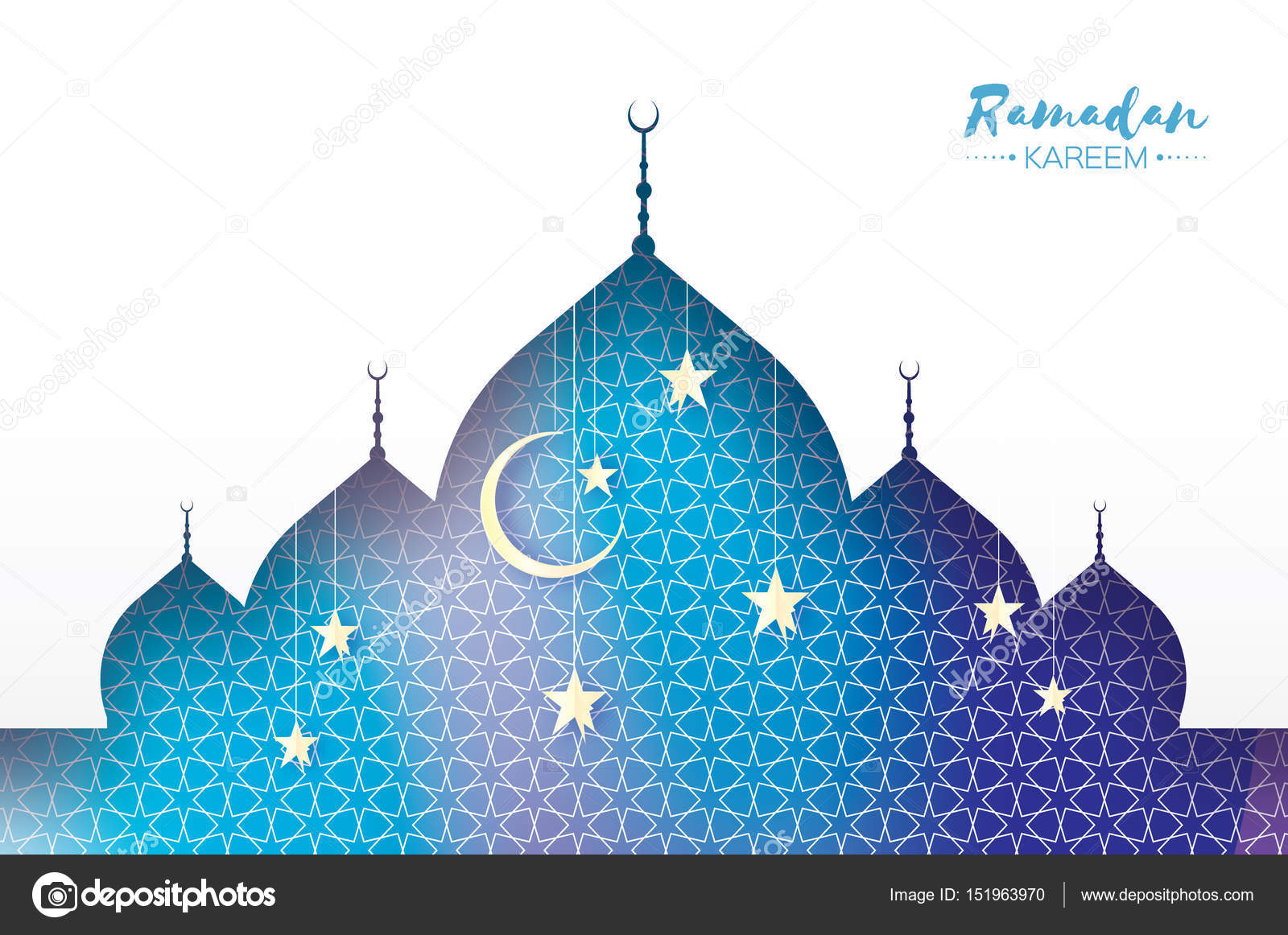 Ramadan Kareem Arabic Window Mosque White Stars In Paper Cut Style Arabesque Pattern Crescent Moon Holy Month Of Muslim Symbol Islam
