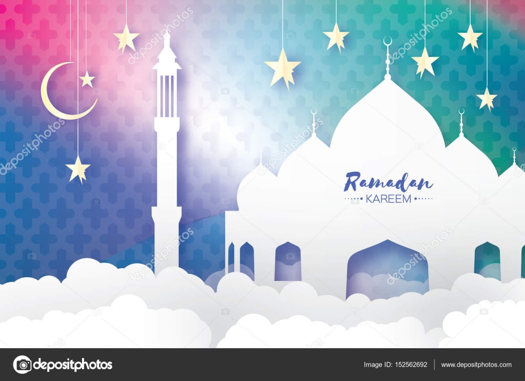 Ramadan kareem greeting card arabic window mosque clouds white arabic mosque clouds white stars in paper cut style arabesque pattern crescent moon holy month of muslim symbol of islam origami greeting card kristyandbryce Image collections