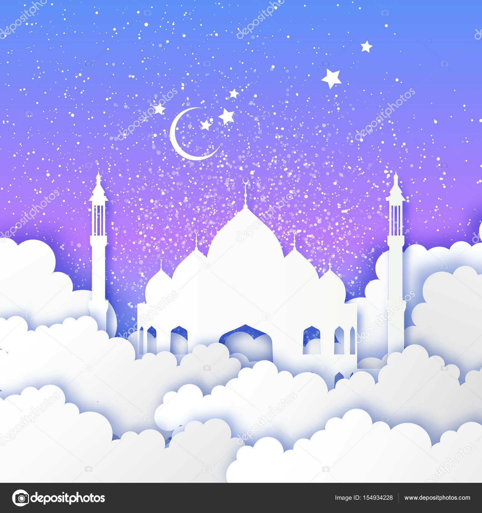 Ramadan kareem arabic mosque in paper cut style stars clouds arabic mosque in paper cut style stars clouds crescent moon holy month of muslim symbol of islam night sky origami greeting card blue background kristyandbryce Image collections