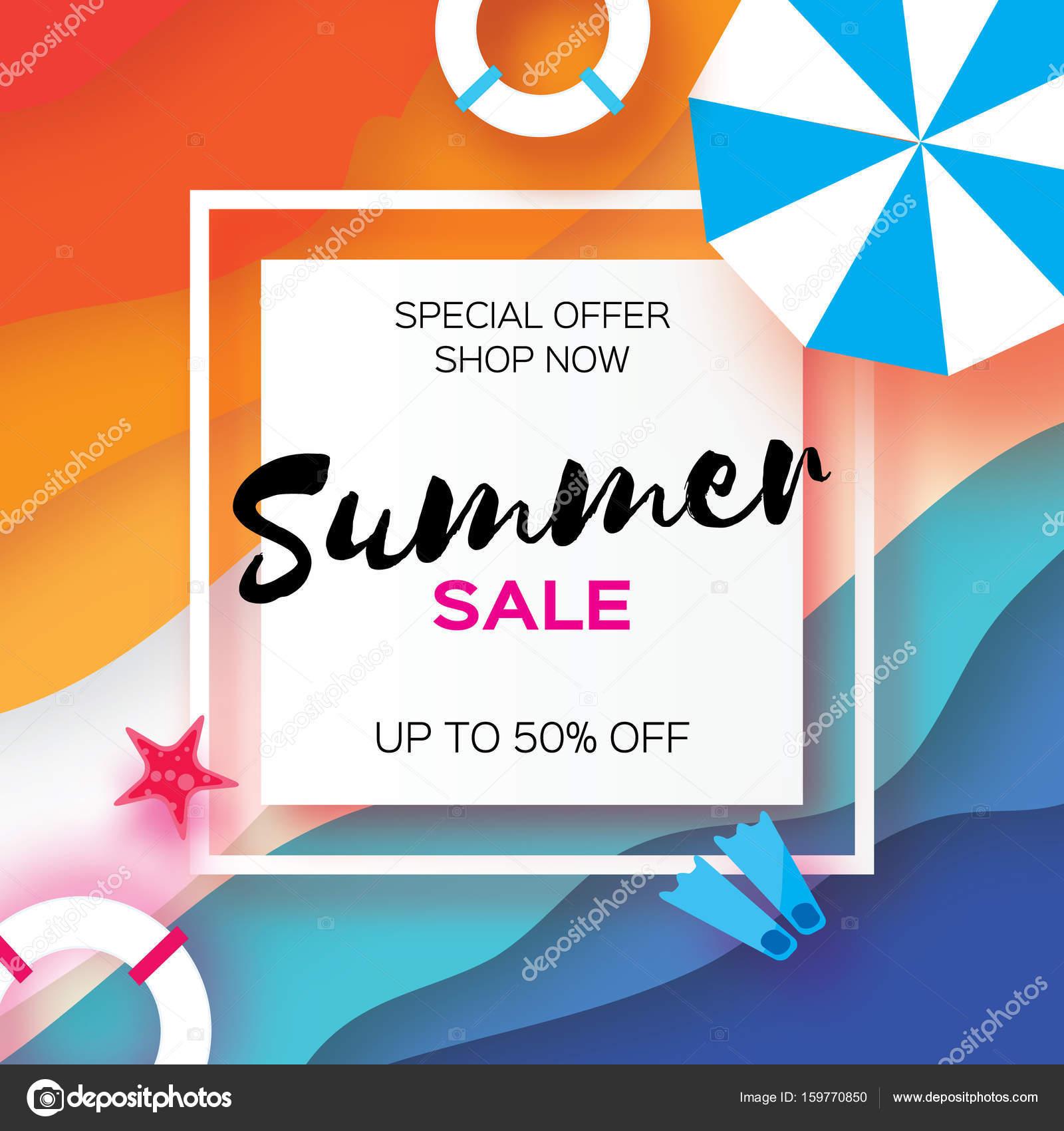 summer sale template banner beach rest summer vacantion top view