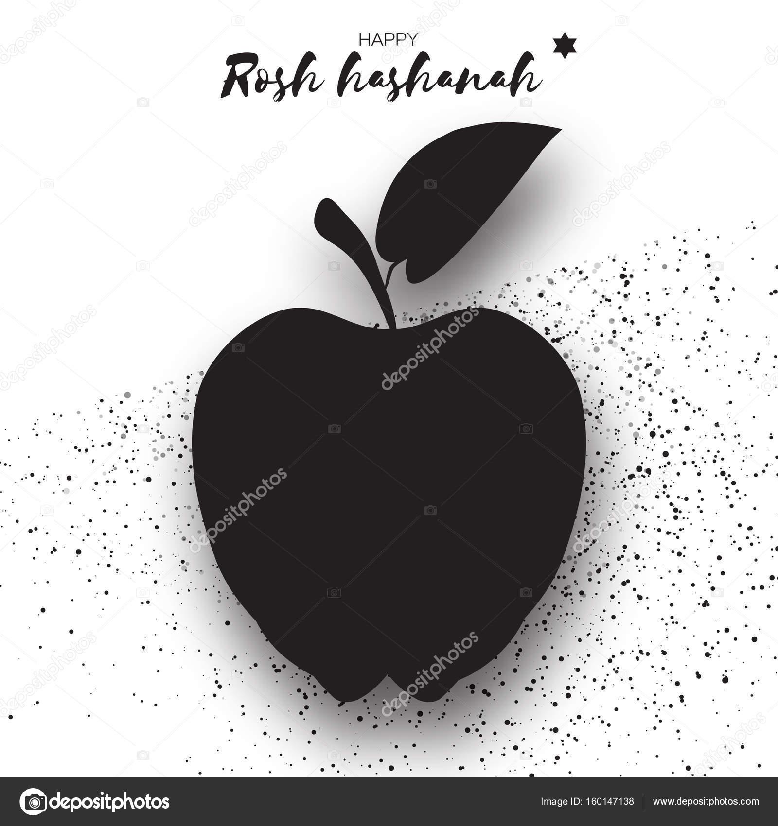 Año nuevo judío, Rosh Hashaná. Estilo de corte de papel de manzana ...