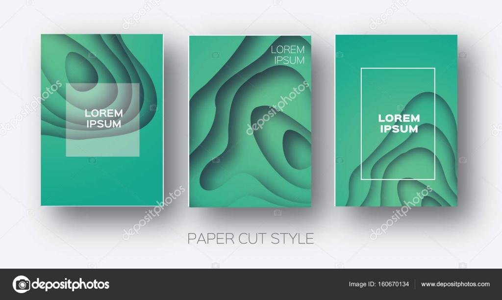 Papel corta formas de onda. Curva de capas Origami diseño para ...
