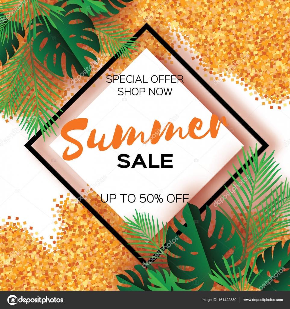 Tropical paper palm monstera leaves frame Summer
