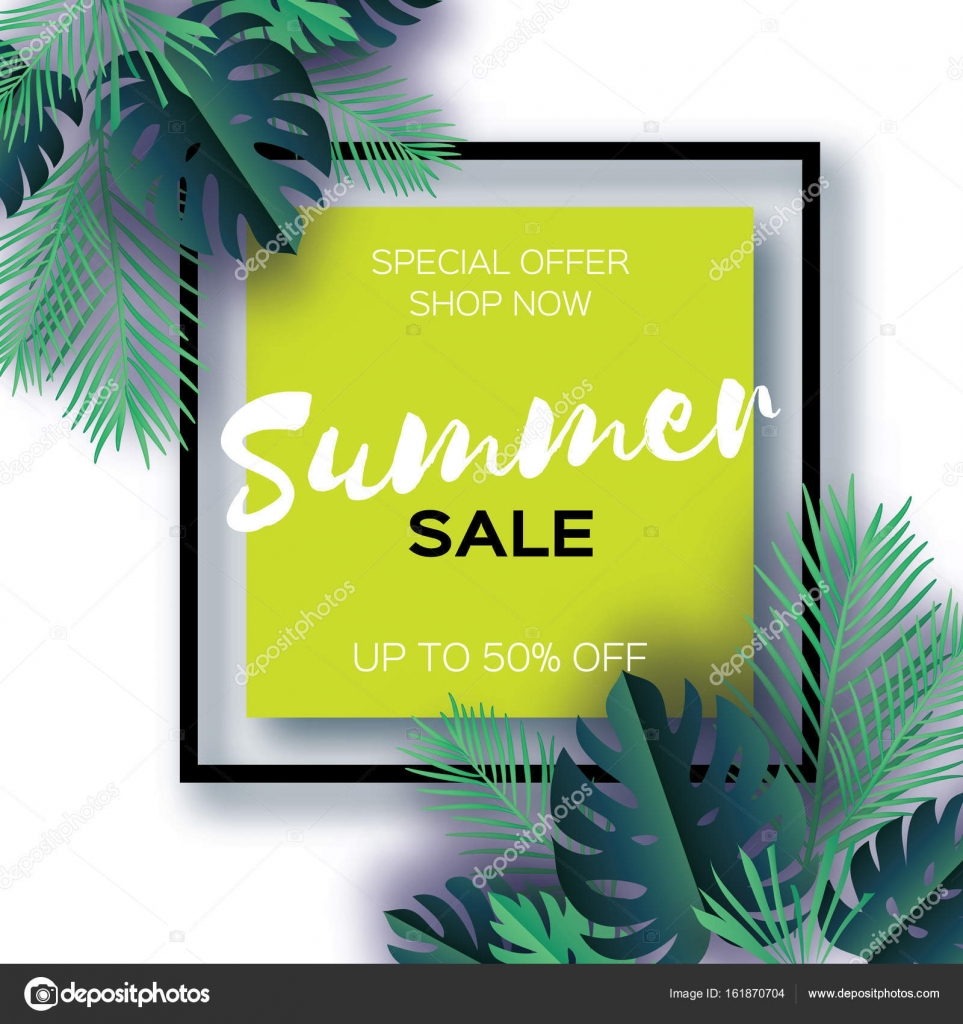 Trendy Summer Sale Template Banner Paper Cut Art Tropical Palm Leaves Plants Exotic