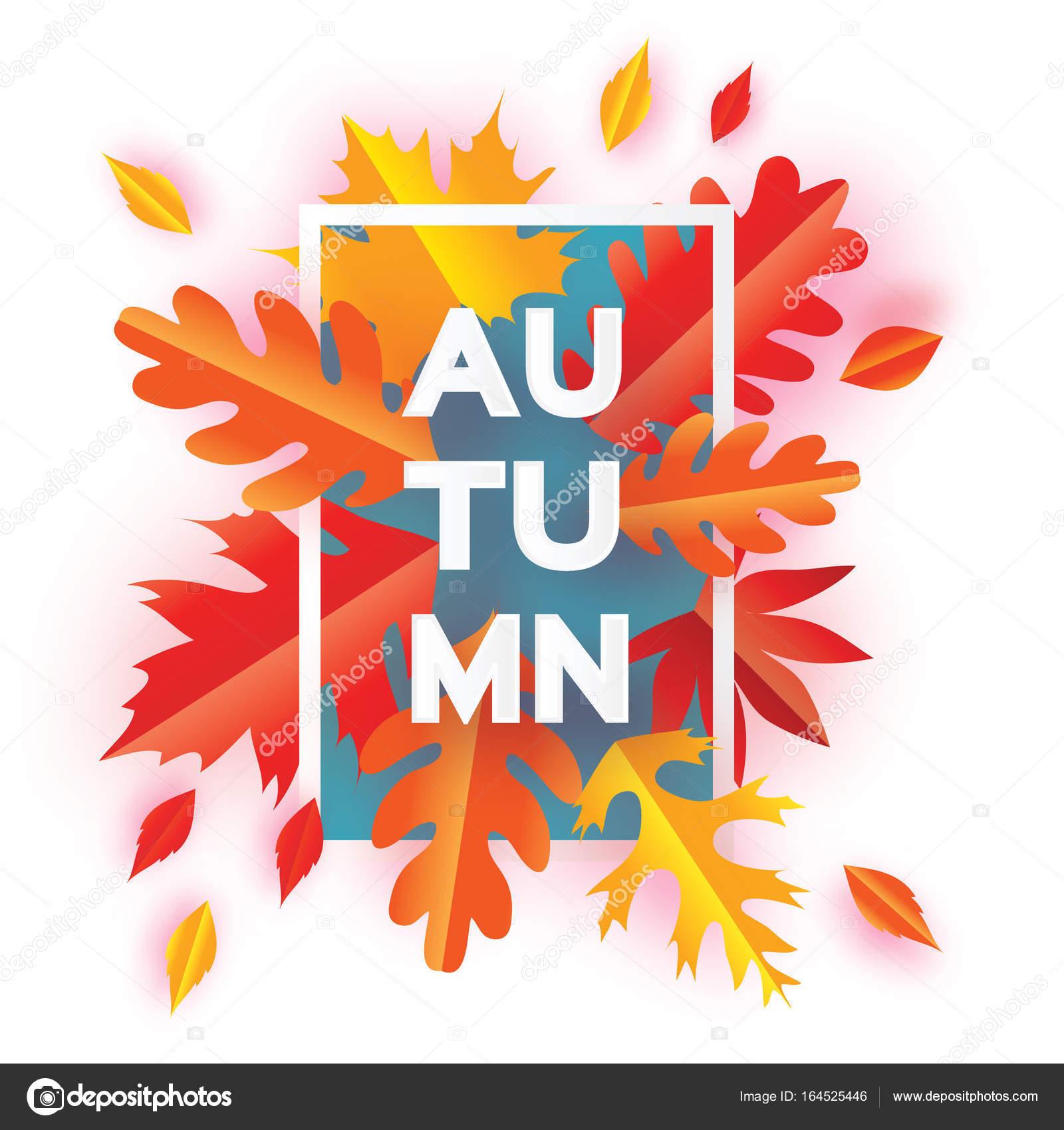 Hermoso otoño papel cortar hojas. Hola otoño. Plantilla de volante ...