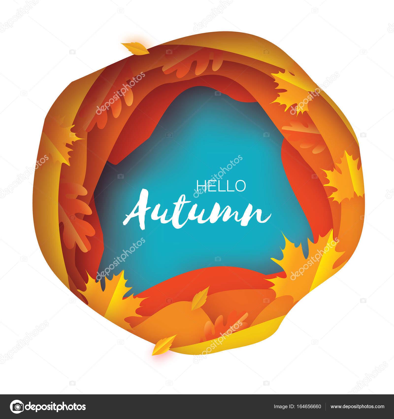 Otoño de papel cortar hojas. Hola otoño. Plantilla de volante de ...