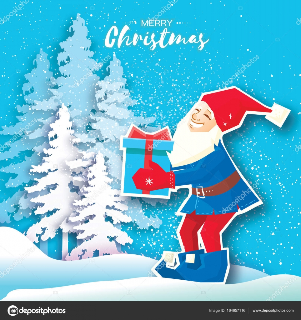 Christmas Cartoon Of Santa Claus Holding A Gift Box With Bow Paper