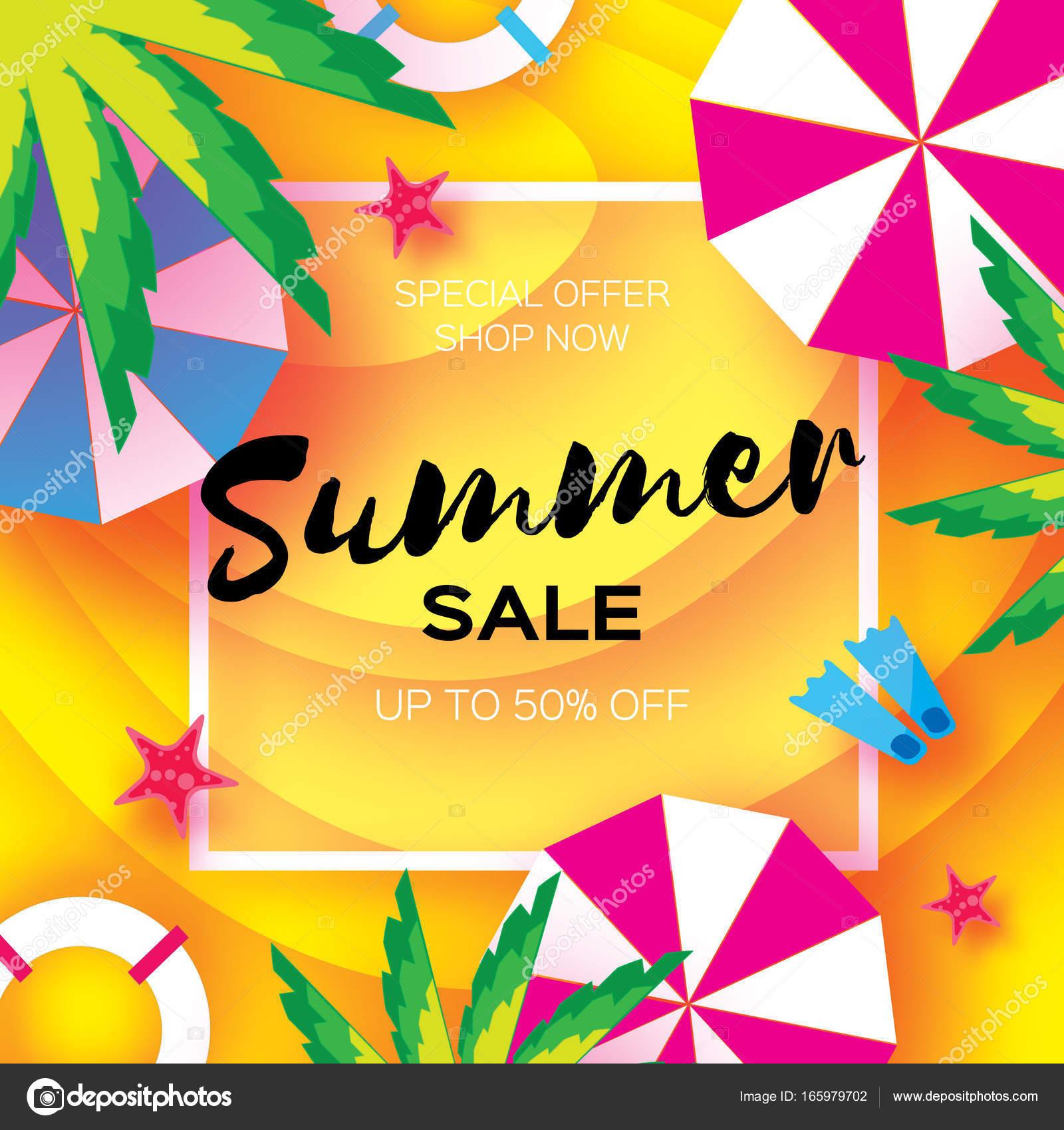 Sommer Sale Vorlage Banner. Strand-Rest. Sommer Urlaub. Draufsicht ...