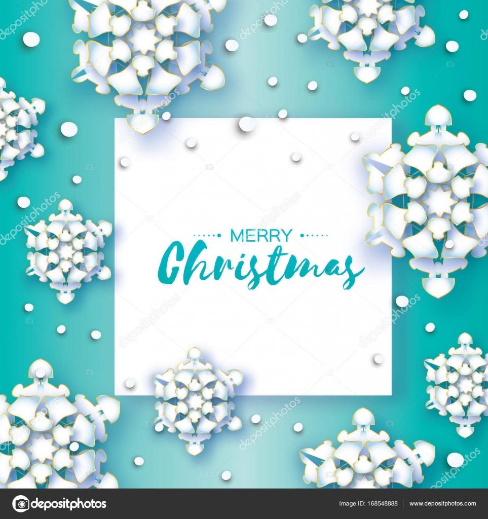 Weiße Origami Schneefall Frohe Weihnachten Grußkarte Weißes Papier
