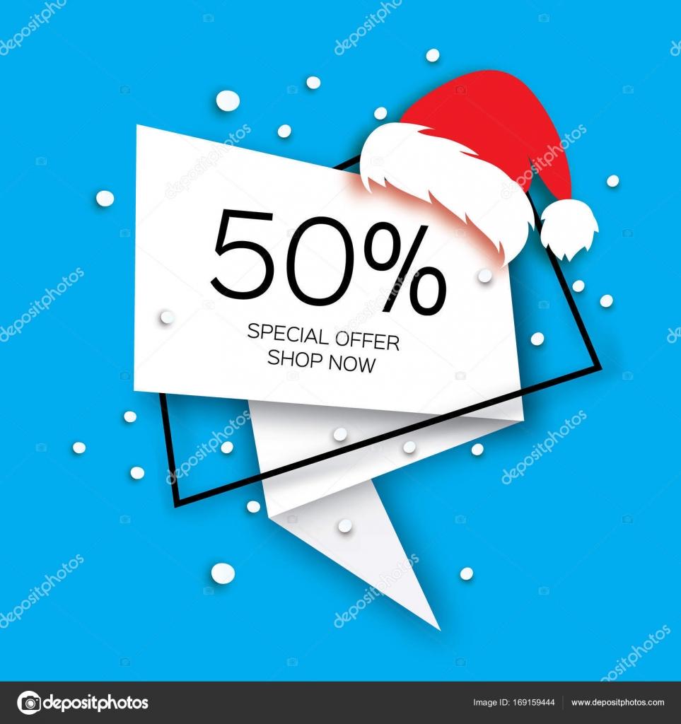 Moderne Scherenschnitt Frohe Weihnachten Verkauf Banner. Santa Claus ...