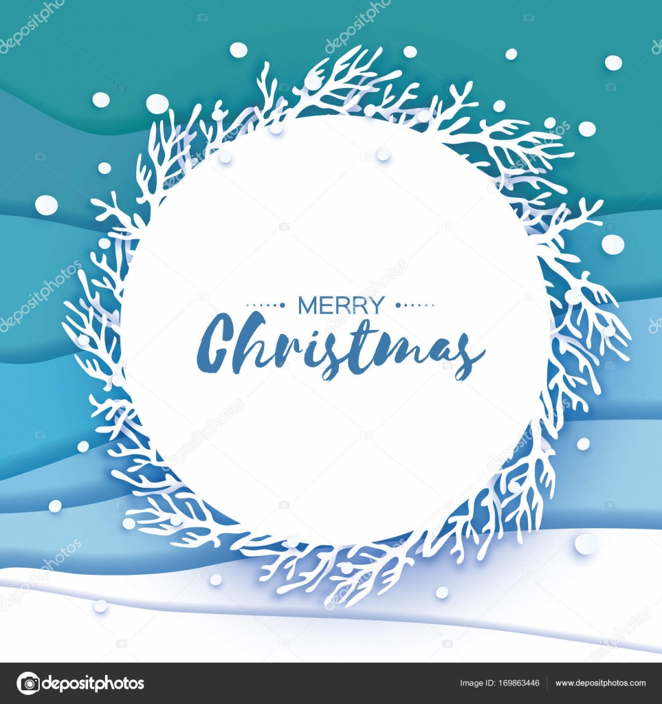 Origami Merry Christmas Greetings Card Paper Cut Snow Flake Happy
