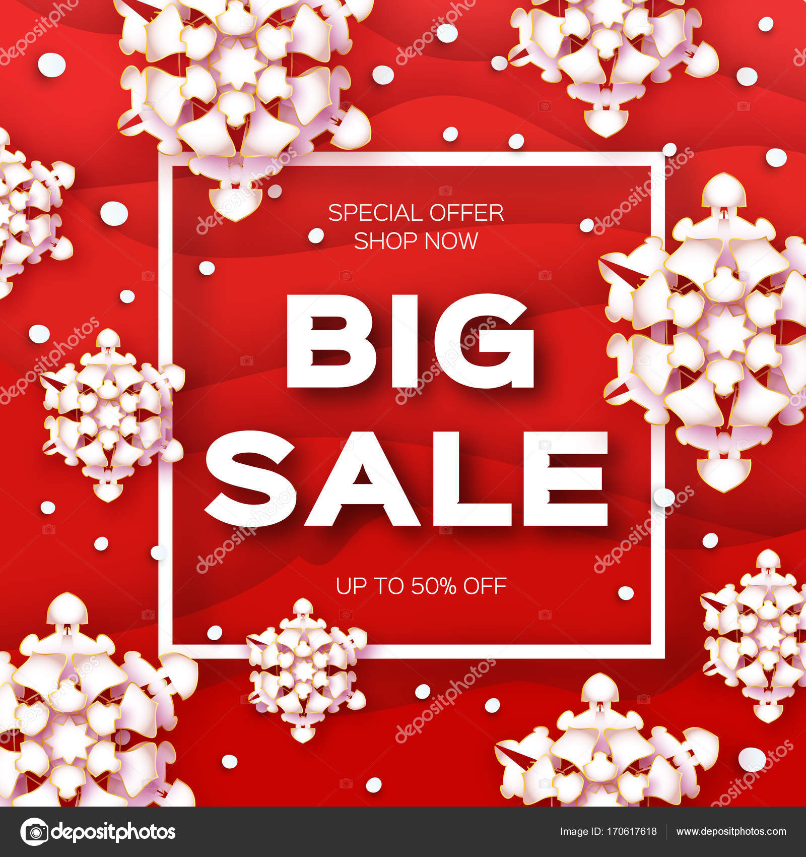 Merry Christmas Big Sale For Promotion Paper Cut Snowflakes Banner