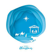 Photo Birth of Christ. Baby Jesus in the manger. Holy Family. Magi. Three wise kings and star of Bethlehem - east comet. Nativity Christmas graphics design in paper art style. Vector