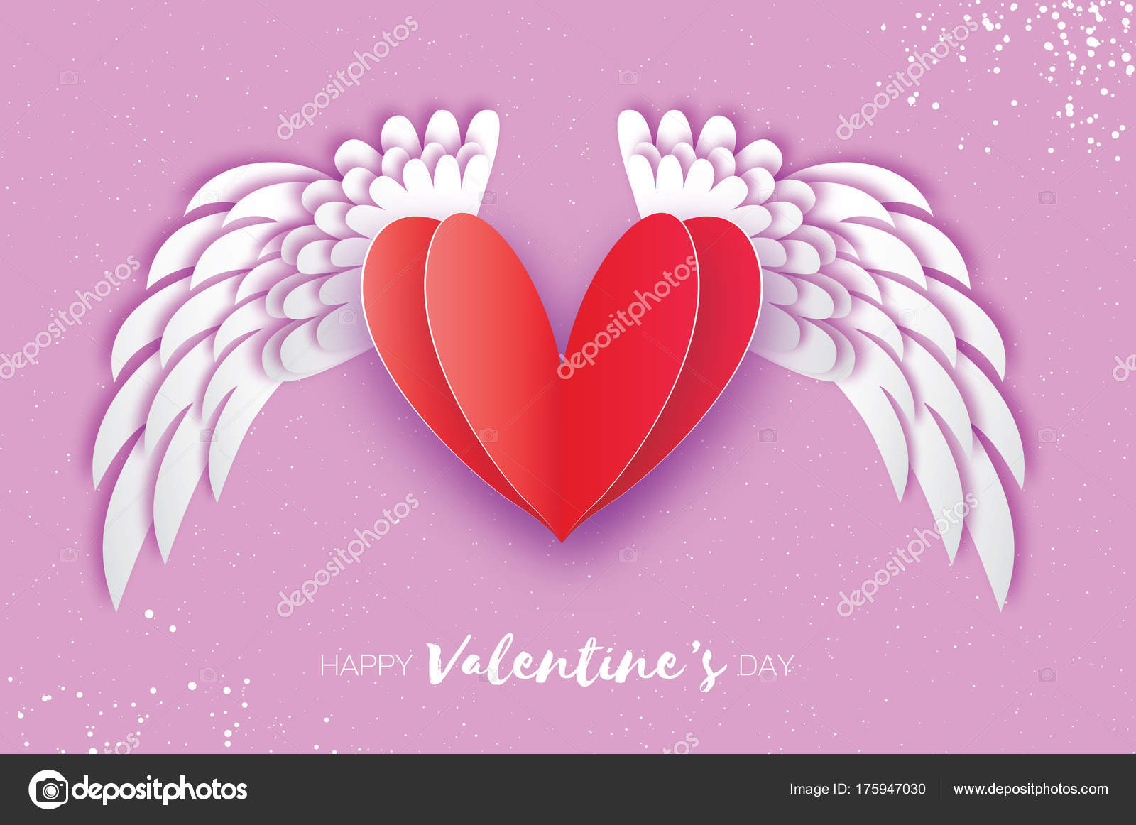 Happy Valentines Day Greetings Card Origami Angel Wings And Romantic Red Heart Love