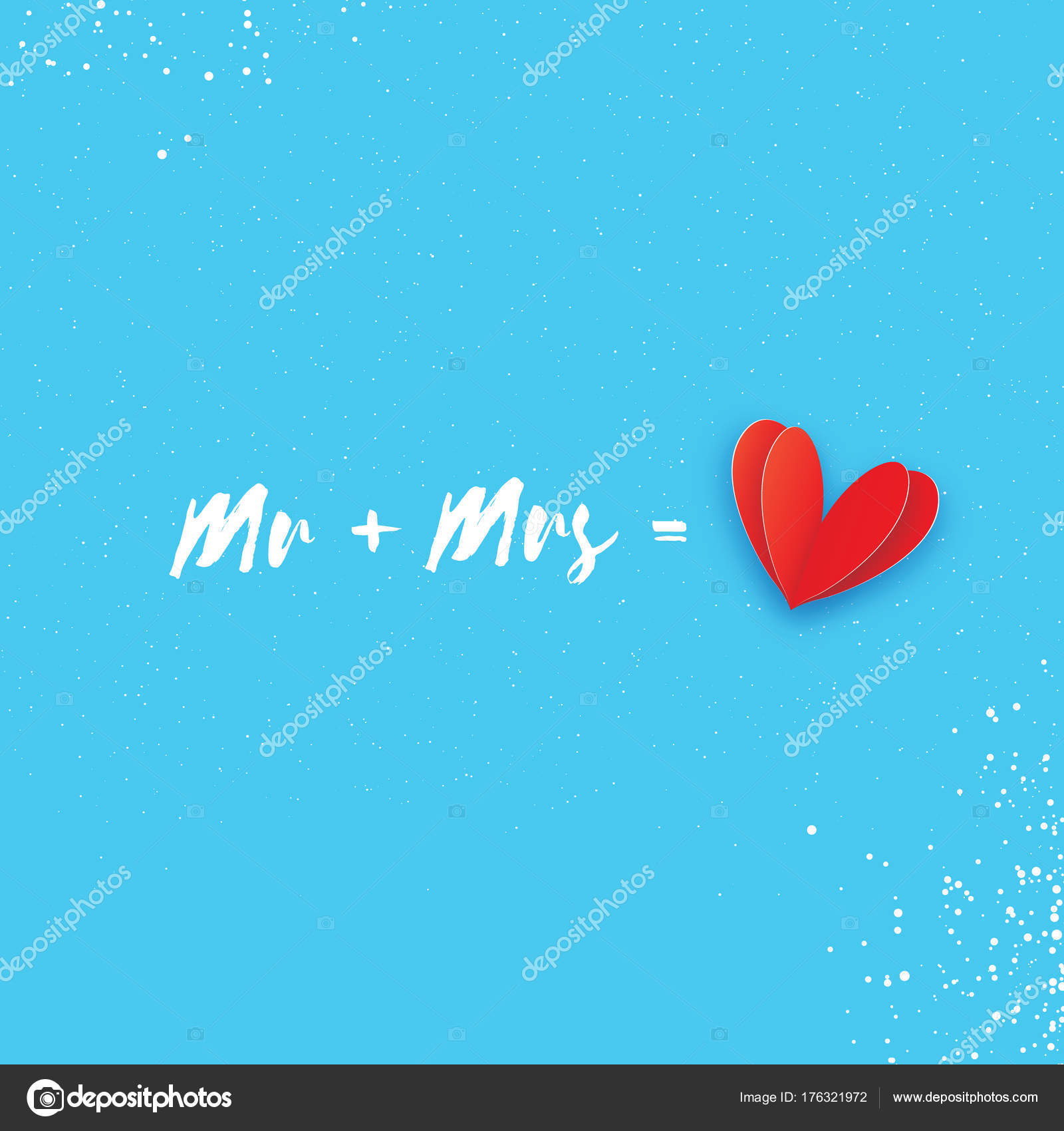 Mr And Mrs Words Mister Plus Missis Equal Love Paper Cut Red Heart