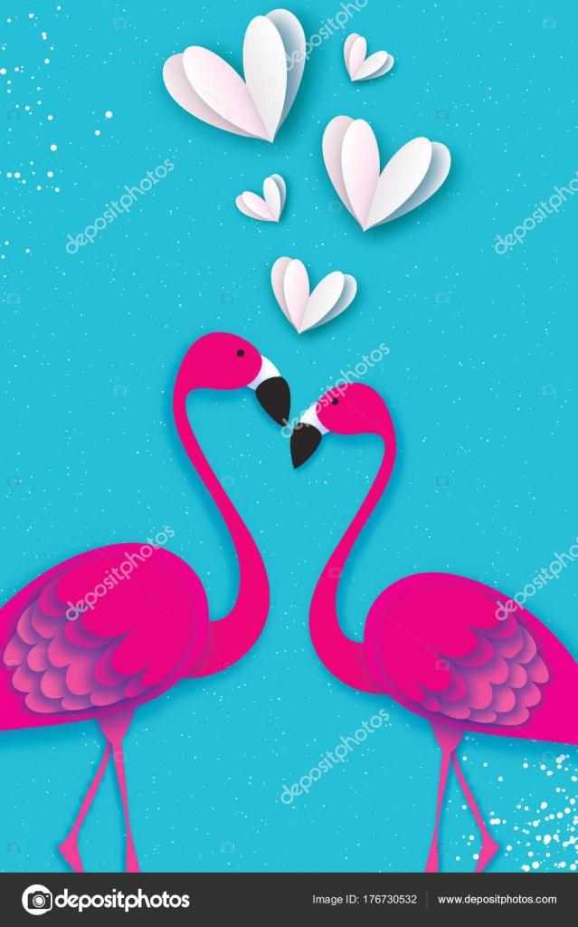 Amor de aves exóticas. Pareja de flamencos. Hermosas aves de color ...