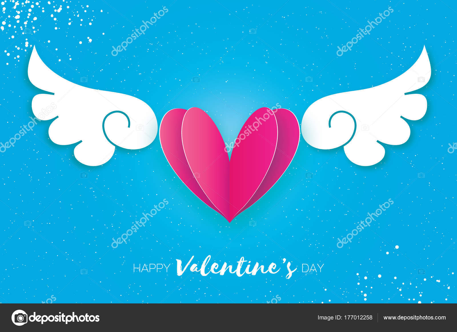 Happy Valentines Day Greetings Card Origami Cute Angel Wings And