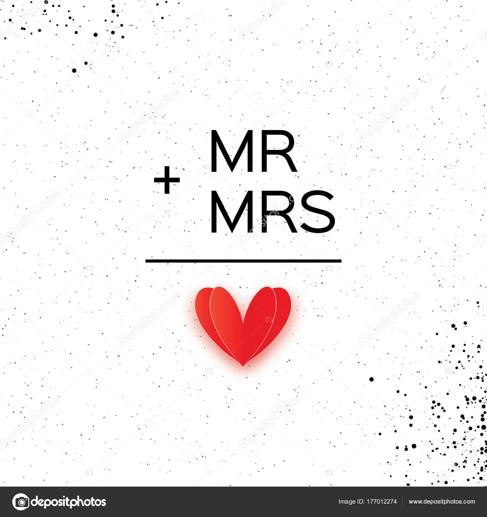 Mr And Mrs Words Mister Plus Missis Equal Love On White Paper Cut Red