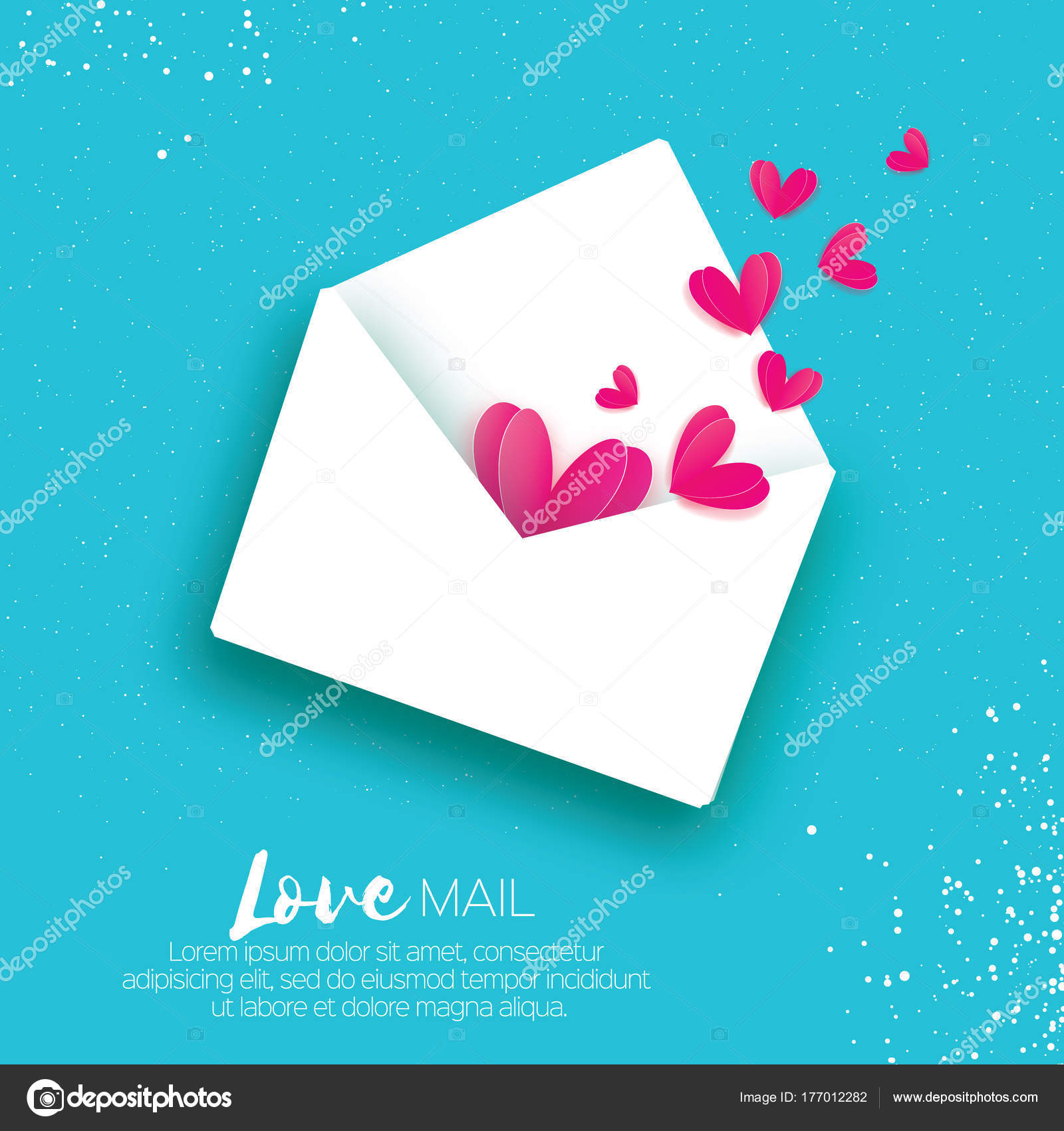 Greeting Card For Valentines Day Mail Love And Envelope In Paper