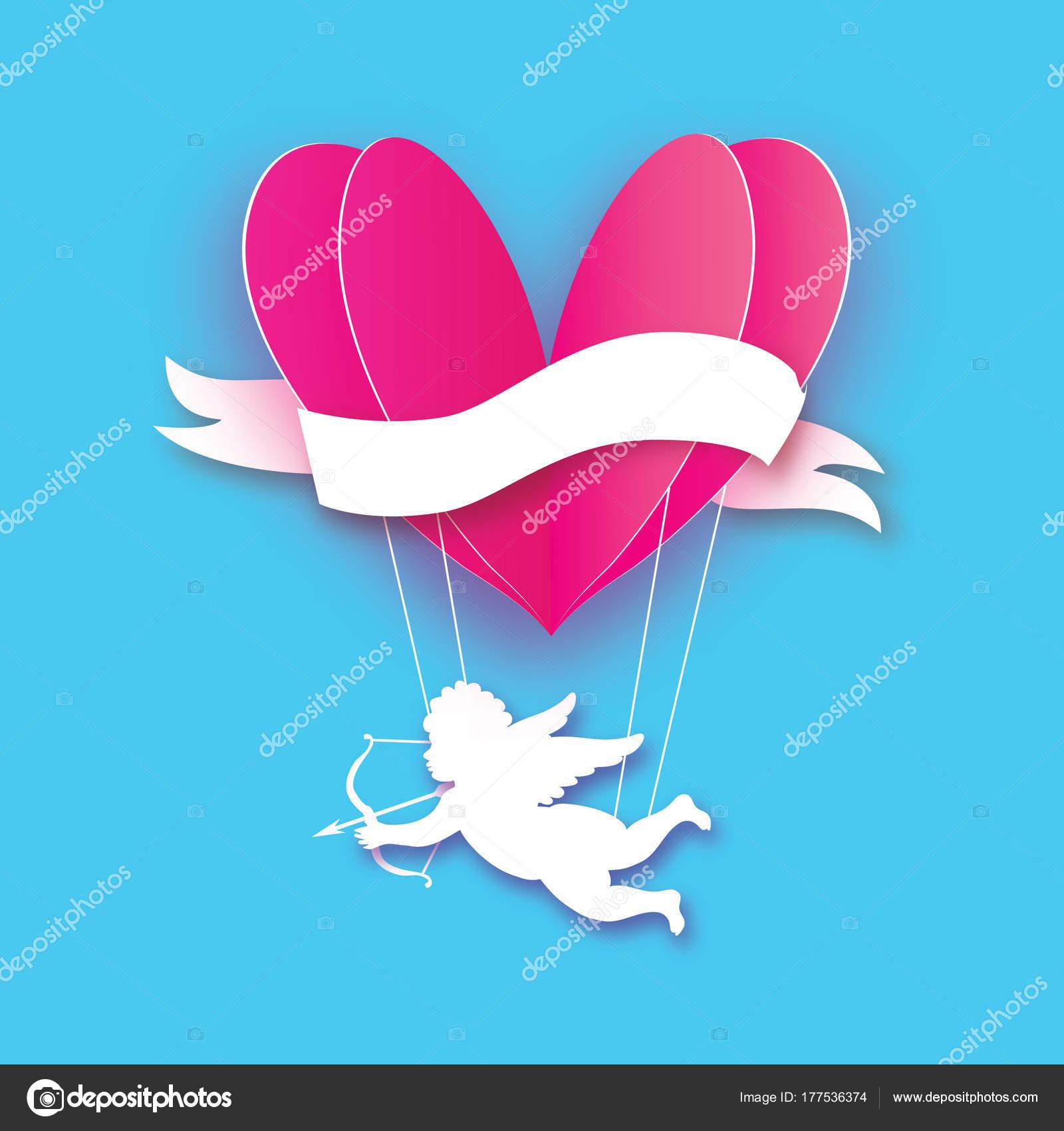 Flying Cupidon Petit Ange Amour Coeur Rose En Papier