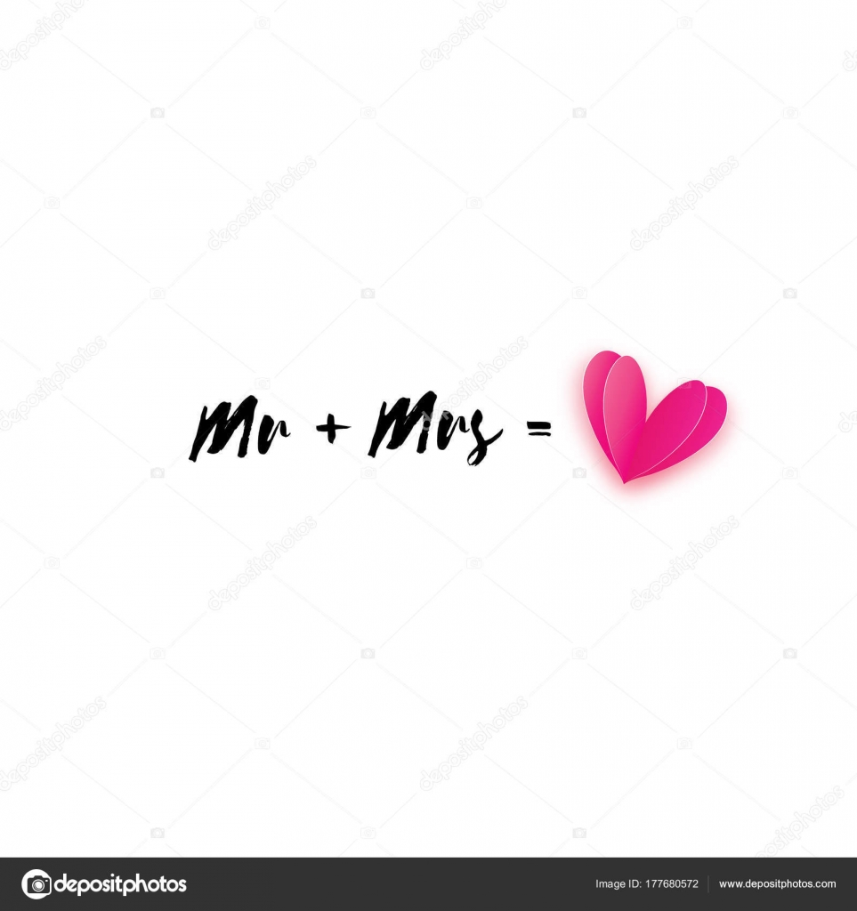 Mr And Mrs Words Mister Plus Missis Equal Love On White Paper Cut Pink