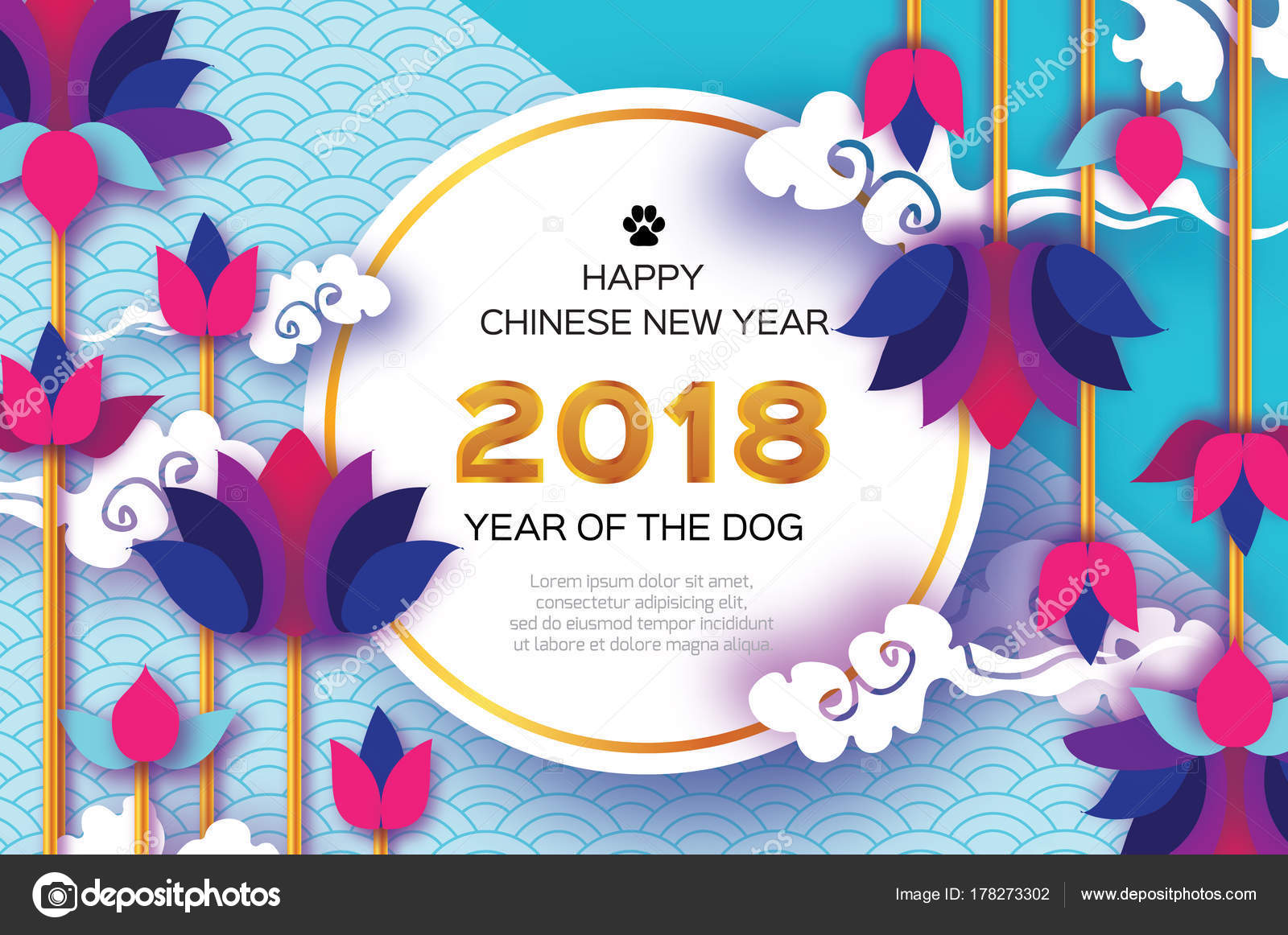 Beautiful origami waterlily or lotus flower happy chinese new year beautiful origami waterlily or lotus flower happy chinese new year 2018 greeting card year of the dog text on circle frame graceful floral background in izmirmasajfo