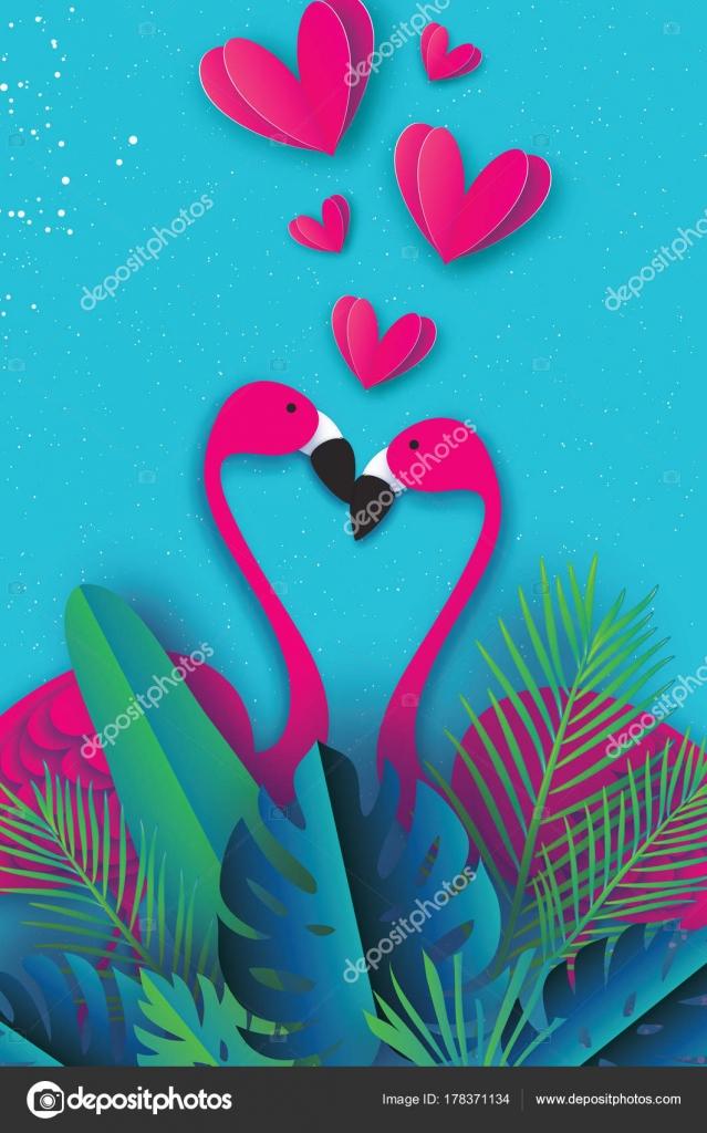 Amor de aves exóticas. Pareja de flamencos. Hermoso pájaro color de ...
