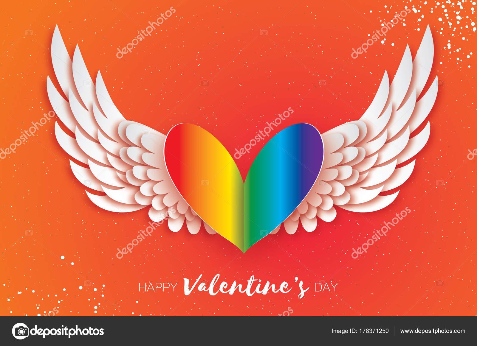 Corazones Con Alas De Amor Tarjeta De San Valentín Feliz Gay Día