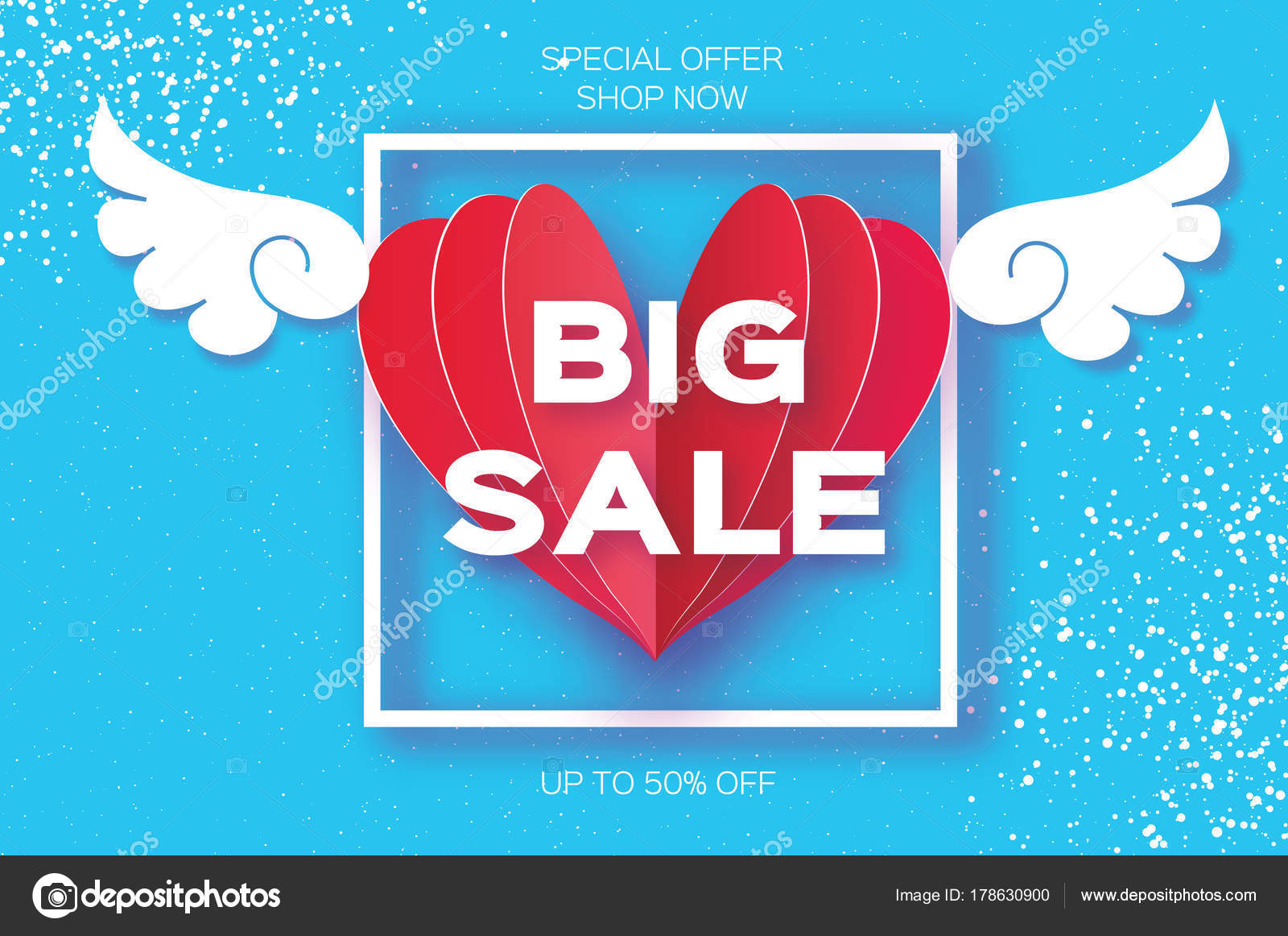 Valentines Day Sale Offer Banner Template Big Origami Angel Wings Red Heart Love