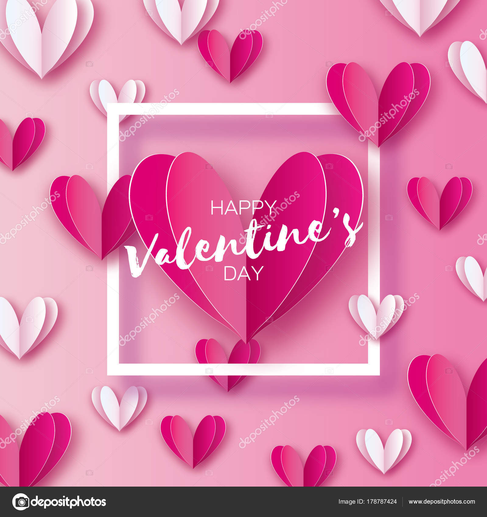 Origami happy valentines day greetings card flying love white and origami happy valentines day greetings card flying love white and pink hearts in paper cut m4hsunfo