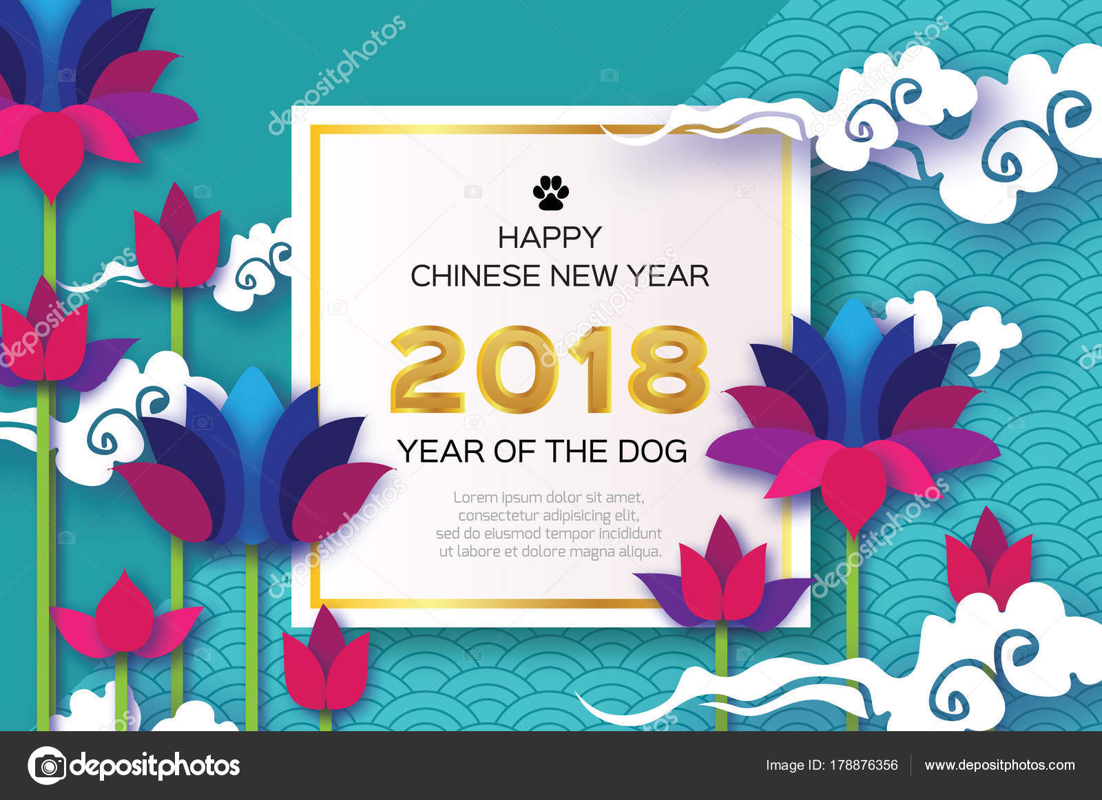Beautiful origami waterlily or lotus flower happy chinese new year beautiful origami waterlily or lotus flower happy chinese new year 2018 greeting card year of the dog text square frame graceful floral background in izmirmasajfo