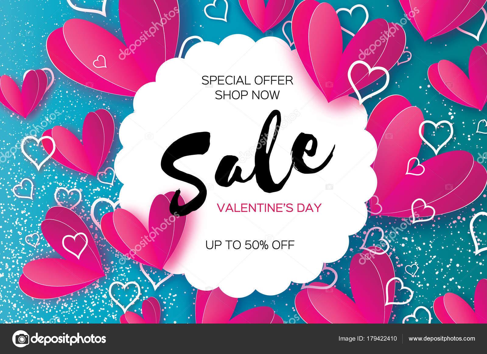 Origami-rosa, weiße Herzen. Valentinstag-Verkauf anbieten, Banner ...