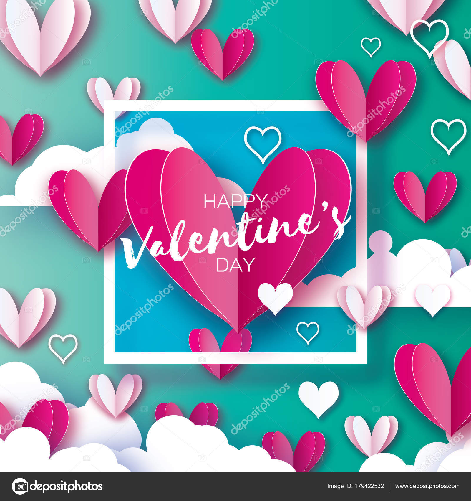 Happy valentines day card origami hearts paper Vector Image | 1700x1600