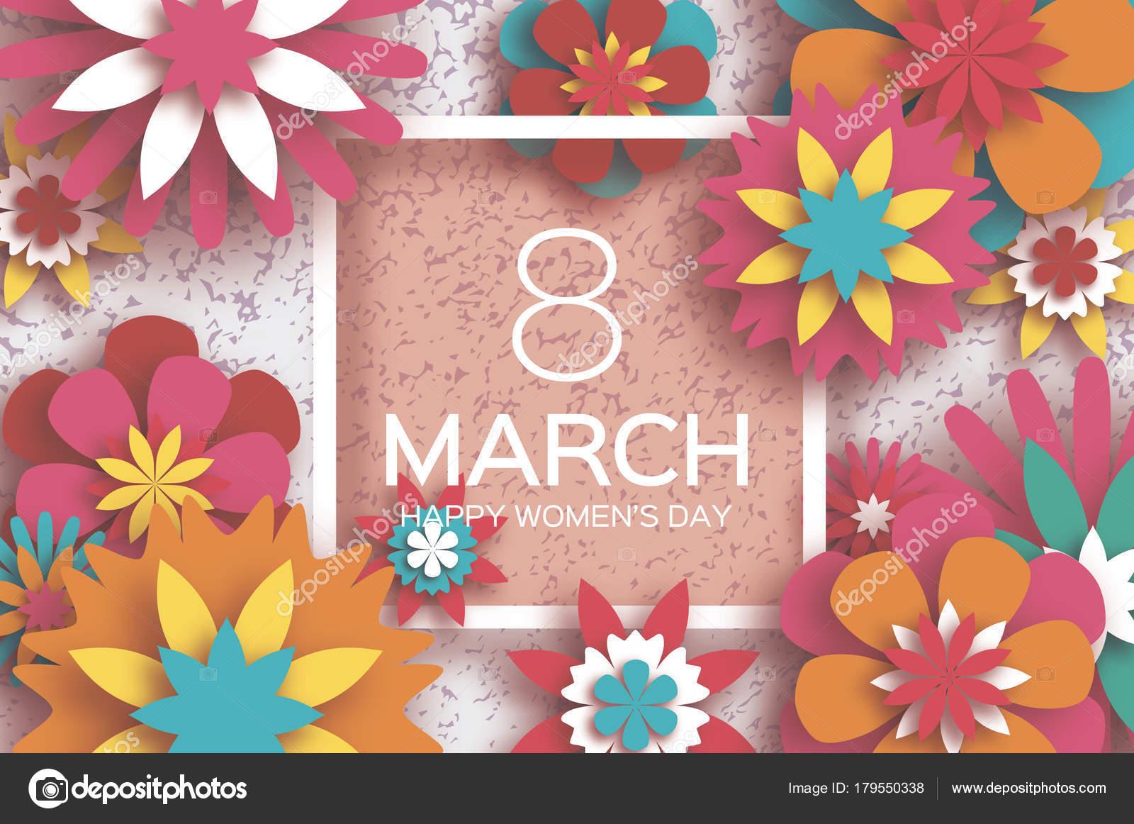 8 De Mar O Feliz O Dia Da Mulher Cart O De Sauda O Floral De  ~ Decoração Para O Dia Das Mães Com Flores De Papel