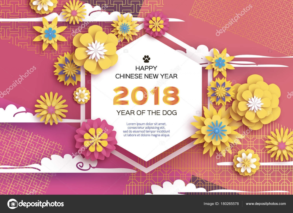 Beautiful Origami Yellow Flowers Happy Chinese New Year 2018 Greeting Card Of The Dog Text